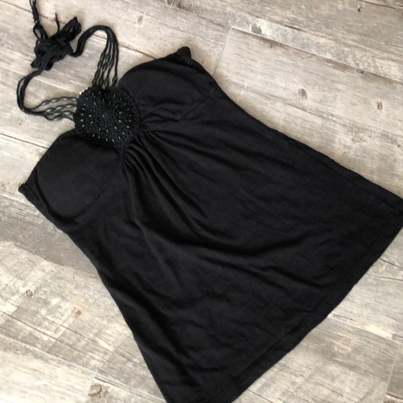 Eyeshadow Tops - Eyeshadow Black Knit Croquet Tank S
